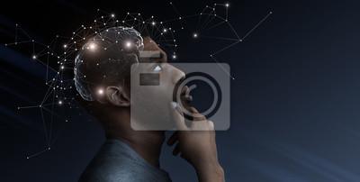 Fototapeta Ideas escape from brain of pensive african man
