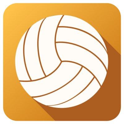 Fototapeta Ikona Sport s volejbalový míč v plochém stylu. Vector