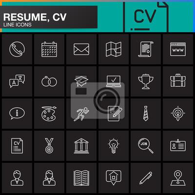 55f76871b26 Fototapeta Ikony linka je nastavena pro Resume nebo CV. Obrys vektoru  symbolů sběr