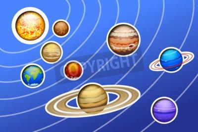 Fototapeta ilustrace načrtl sluneční soustavy s linkami na modrém pozadí