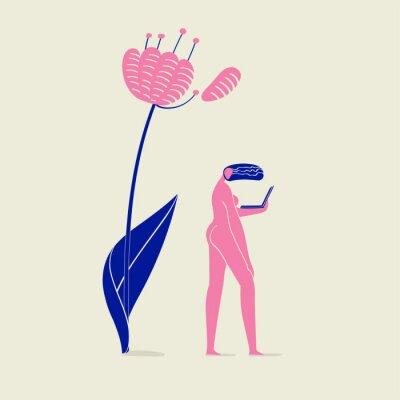 Fototapeta ilustrace nahé dívky s notebookem pod květ, osoba, příroda, ekologie a technologie, schéma růžové a modré barvy