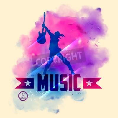 Fototapeta ilustrace rocková hvězda s kytarou pro hudební pozadí