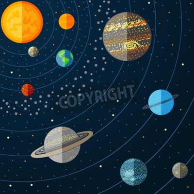 Fototapeta Ilustrace sluneční soustavy s planetami. vektorové ilustrace