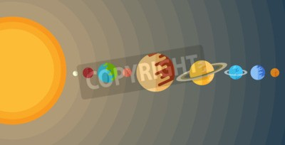 Fototapeta ilustrace sluneční soustavy v plochém stylu.