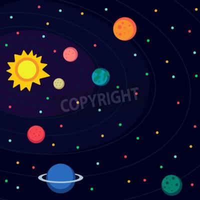 Fototapeta Ilustrace ve stylu plochém o vesmíru.