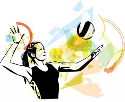 Fototapeta Ilustrace volejbalový hráč hraní