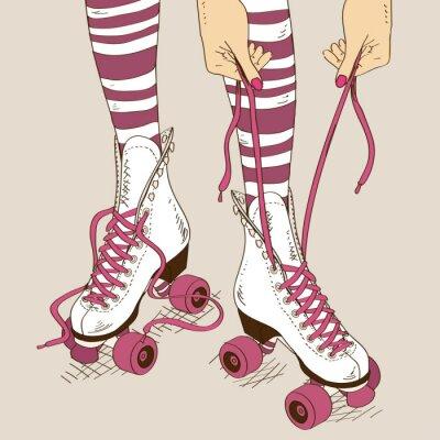 Fototapeta Ilustrace ženské nohy v retro kolečkové brusle