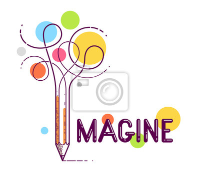 Fototapeta Imagine word with pencil instead of letter I, imagination and fantasy concept, vector conceptual creative logo or poster made with special font.