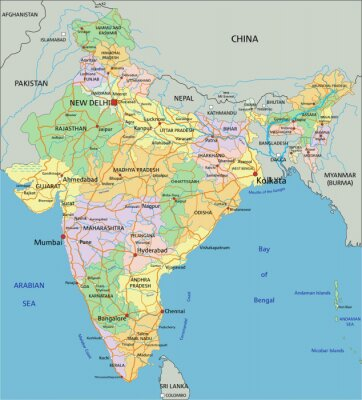 Fototapeta India - Highly detailed editable political map with labeling.