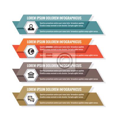 Fototapeta Infographic obchodní koncept - barevné horizontální vektor  nápisy. Infographic šablona. Infografiky prvky návrhu 849020338d
