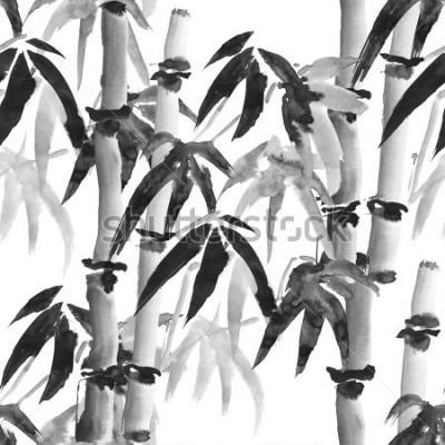 Fototapeta inkoust bezešvé vzor s bambusem v japonském stylu na bílém pozadí