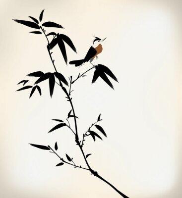 Fototapeta inkoust maloval bambus a pták