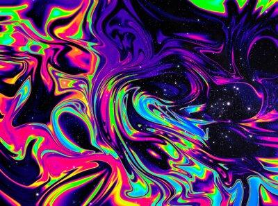 Fototapeta iridescent rainbow galaxy space psychedelic swirl trippy artwork abstract acrylic background