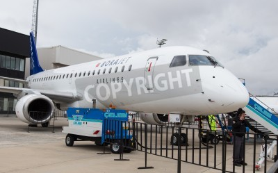 Fototapeta ISTANBUL, TURKEY - SEPTEMBER 27, 2014: Borajet Embraer E190 in Istanbul Airshow which held in Ataturk Airport