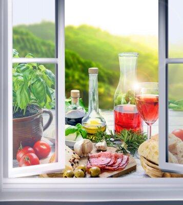Fototapeta Italienische Küche - Vorspeisen (Antipasti) am Fenster