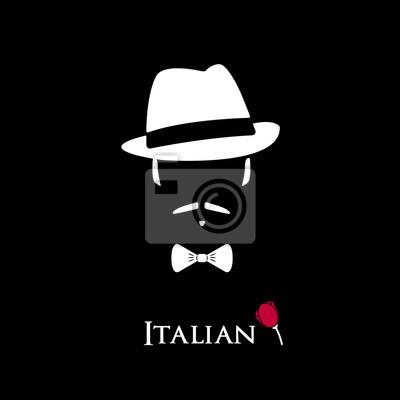 d13254f607a Italské mafiánské. ilustrace muž s knír a motýl. fototapeta ...