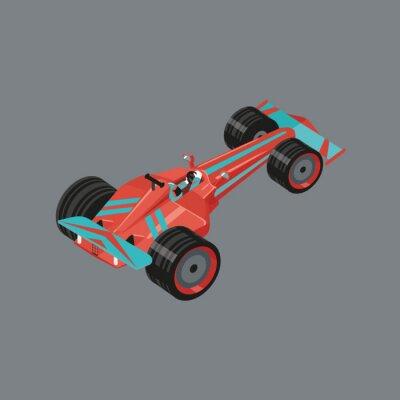 Fototapeta Izometrické sportovní vůz. Izolované vektorové kreslený auto na závody. Červené sportovní automobil s jezdcem uvnitř.