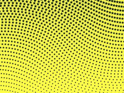 Fototapeta Jednoduché retro vlnitý půltón vzor černé hvězdy na žlutém ba