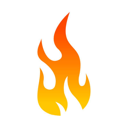 Ikona plamene s plochou barvou fototapeta • fototapety plamen, hořet, byt |  myloview.cz
