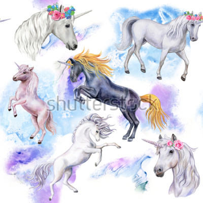 Fototapeta Jednorożec. Bezešvé vzor s koňmi. Zvířata Ilustrace. Vodové barvy. Šablona. Detail
