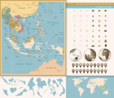 Fototapeta Jihovýchodní Asie podrobná mapa s navigační sady ikon.