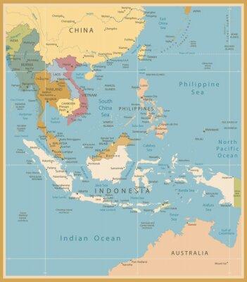 Fototapeta Jihovýchodní Asie podrobná mapa vintage barvy