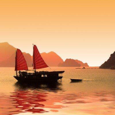 Fototapeta Jonque dans la Baie d'Halong - Vietnam