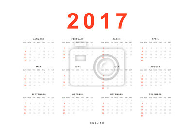 3a1d694efe0c Fototapeta Kalendář 2017 jednoduché šablony pro tisk v anglicky. Týden  začíná od neděle.