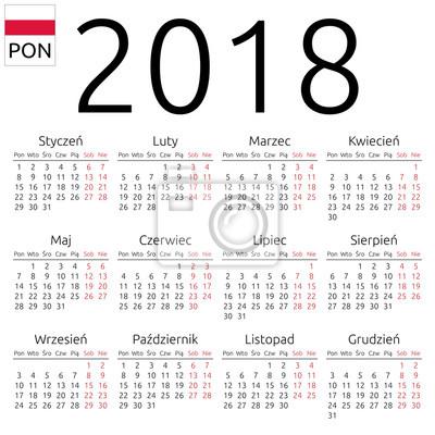 polsky kalendar Kalendář 2018, polsky, pondělí fototapeta • fototapety 2018, 12  polsky kalendar
