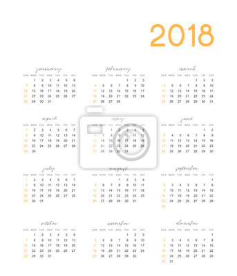 24164eb67e89 Fototapeta Kalendář pro 2018 Anglický jednoduchý na bílém pozadí vektorové  ilustrace.