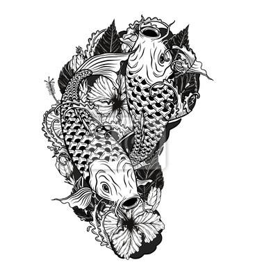 Kaprove Ryby A Chryzantemove Tetovani Rucni Kresbou Tattoo Umeni