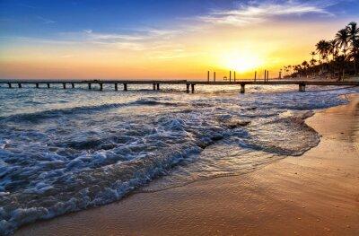 Fototapeta Karibské moře pláž západ slunce s palmami.
