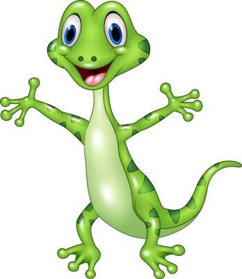 Fototapeta Karikatura legrační ještěrka zelená představují samostatný na bílém pozadí