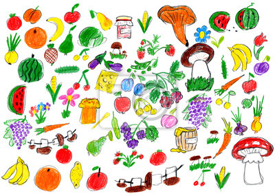 Karikatura Potraviny Sber Ovoce A Zelenina Detska Kresba Objekt