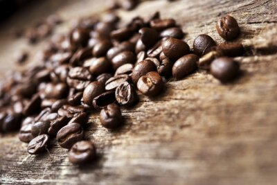 Fototapeta Káva na dřevo