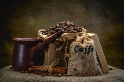 Fototapeta káva pytel na tmavém pozadí