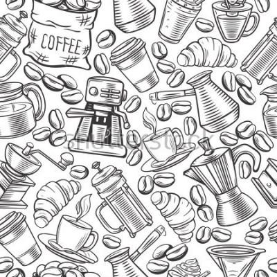 Fototapeta Káva s náčrty, nápoje, francouzský tisk, pivovar pro menu kavárny.
