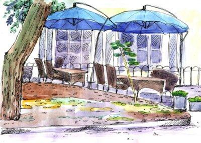 Fototapeta Kavárna na ulici. modré deštníky, akvarel