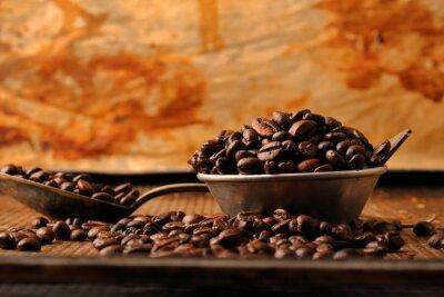 Fototapeta Kávová zrna a tmavé čokolády v misce ve stylu vintage