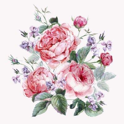 Fototapeta Klasická ročník květinové pohlednici, akvarel kytice