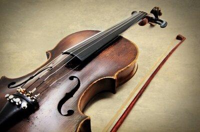 Fototapeta Klasické housle na grunge papíru textury.