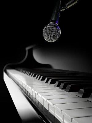 Fototapeta klavír klávesy na černém piano s mikrofonem