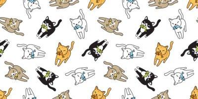 Fototapeta kočka Bezešvé vzor vektor kotě calico ryby losos kreslený šátek izolované dlaždice pozadí opakovat tapeta doodle ilustrace