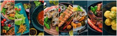 Fototapeta Koláž jídel. Saláty, občerstvení, masitá jídla a ryby. Na dřevěné pozadí. Pohled shora.