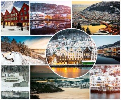 Fototapeta koláž ze zimy a zajímavosti v Bergenu