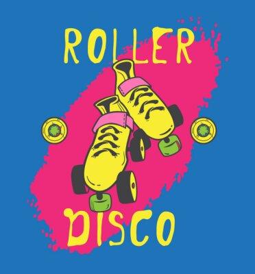 Fototapeta Kolečkové brusle a roller_disco grafický design pro t-shirt