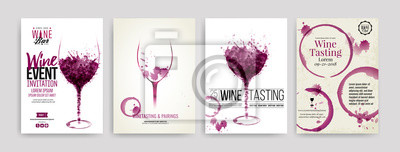 Fototapeta Kolekce šablon s vínem vzory. Brožury, plakáty, pozvánky, propagační bannery, menu. Víno skvrny, kapky. ilustrace sklenice na víno.