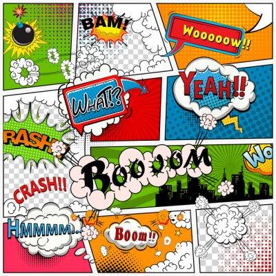 Fototapeta Komiksový strana rozdělena na tratích s bublinách, zvuky efekt. Retro pozadí mock-up. Komiks šablony.