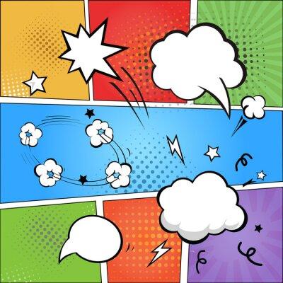 Fototapeta Komiksů a komické bubliny na barevné polotónů