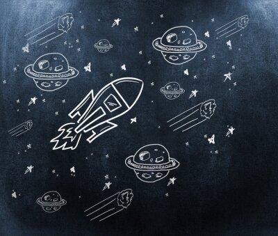 Fototapeta Kompozitní obraz planety, hvězdy a rakety